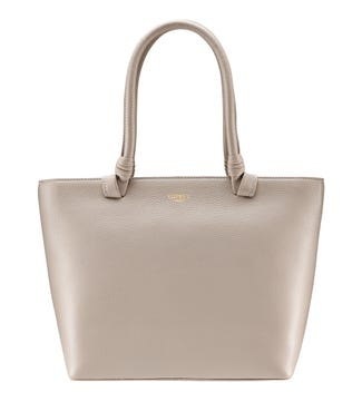 The Collier Leather Shoulder Tote in taupe | OSPREY LONDON