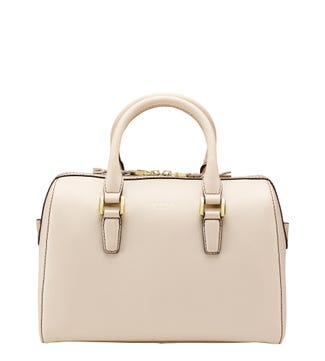 The Connie Leather Bowler Grab in ivory | OSPREY LONDON