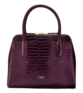 The Connie Leather Grab in grape | OSPREY LONDON