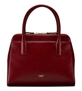 The Connie Leather Grab in oxblood | OSPREY LONDON