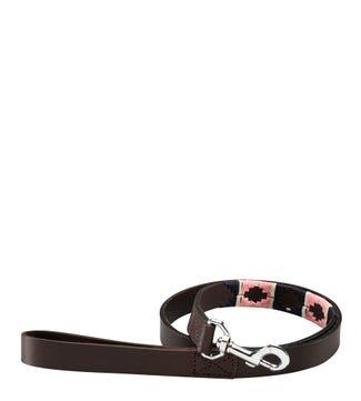 The Embroidered Leather Dog Lead Pink Navy Cream | OSPREY LONDON
