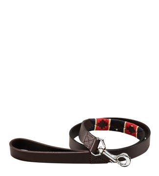 The Embroidered Leather Dog Lead Red Navy Cream | OSPREY LONDON