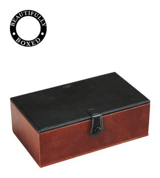 The Vice Dual Leather Humidor in black and chocolate | OSPREY LONDON