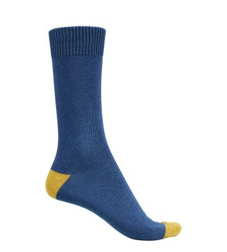 English Luxury Cotton Socks in blue & mustard | OSPREY LONDON