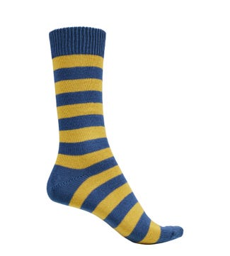 English Luxury Striped Cotton Socks in blue & mustard | OSPREY LONDON