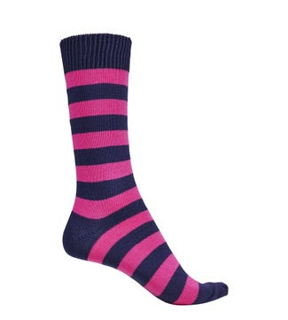 English Luxury Striped Cotton Socks in navy & pink | OSPREY LONDON
