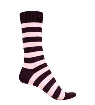 English Luxury Striped Cotton Socks in purple & pink | OSPREY LONDON