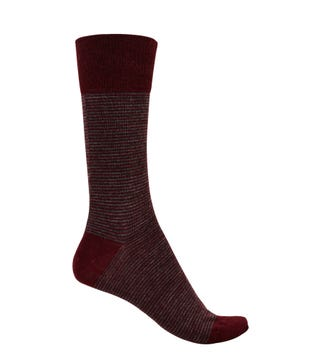 English Luxury Wool Socks in burgundy & grey | OSPREY LONDON