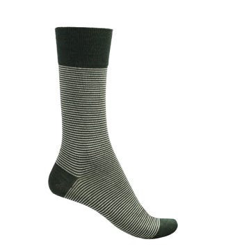 English Luxury Wool Socks in moss and cream | OSPREY LONDON