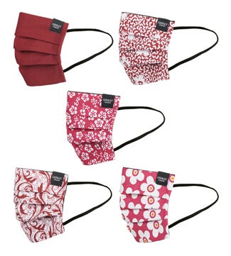 Face Covering Pack of Five in berry red | OSPREY LONDON