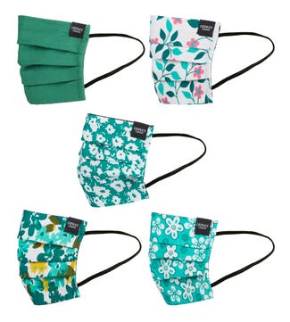 Face Covering Pack of Five in forest green | OSPREY LONDON