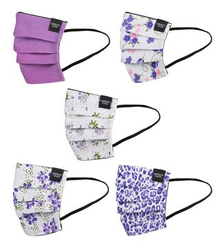 Face Covering Pack of Five in purple | OSPREY LONDON
