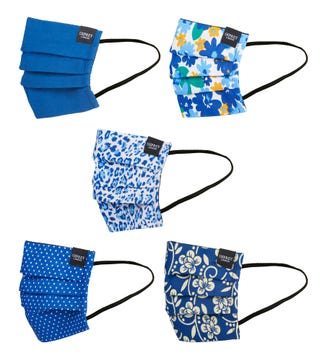 Face Covering Pack of Five in royal blue | OSPREY LONDON