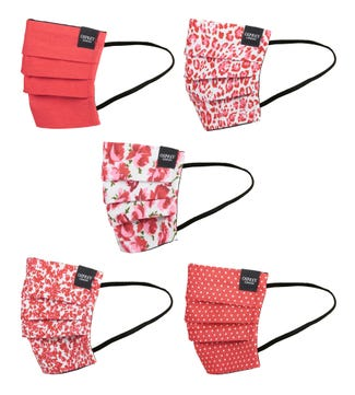 Face Covering Pack of Five in scarlet red | OSPREY LONDON