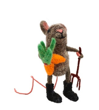 Gardener Mouse in Felted Wool   OSPREY LONDON