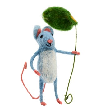 Leaf Umbrella Mouse in Felted Wool | OSPREY LONDON