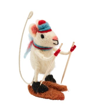 Skiing Mouse in Felted Wool   OSPREY LONDON