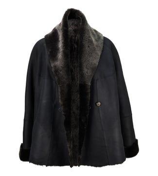 The Freja Sheepskin Short Coat in black | OSPREY LONDON