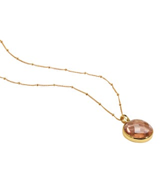 The Gia Moon 18 Inch 18ct Gold Vermeil Necklace in apricot | OSPREY LONDON