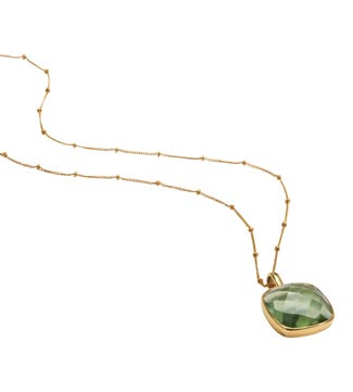 The Gia Square 28 Inch 18ct Gold Vermeil Necklace in apple green | OSPREY LONDON