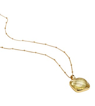 The Gia Square 28 inch 18ct Gold Vermeil Necklace in lemon yellow | OSPREY LONDON