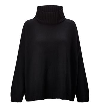 The Go-To Roll Neck Cashmere & Wool Jumper in black | OSPREY LONDON