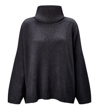 The Go-To Roll Neck Cashmere & Wool Jumper in graphite grey | OSPREY LONDON