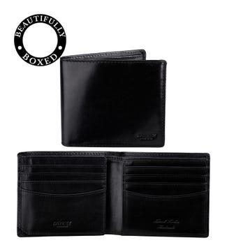 The Hawksmoor Leather E/W Billfold Wallet in black | OSPREY LONDON