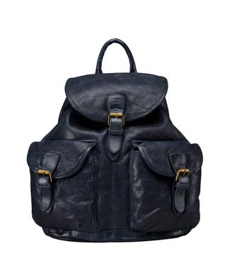 The Hazelden Leather Rucksack in navy | OSPREY LONDON