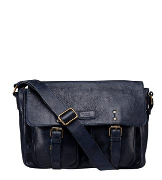 The Hazelden Leather Satchel in navy | OSPREY LONDON