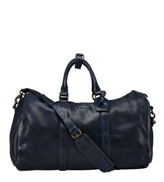 The Hazelden Leather Weekender in navy | OSPREY LONDON