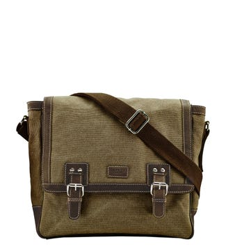 The Hunter Canvas & Leather Satchel in stone & chocolate| OSPREY LONDON