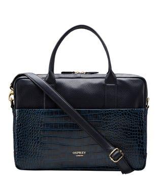 The Kellie Leather Laptop Bag in navy blue   OSPREY LONDON