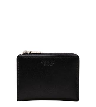 The Mini Kelso Leather Zip-Round Purse in black | OSPREY LONDON