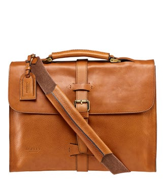 The Knighton Italian Leather Briefcase in nut | OSPREY LONDON