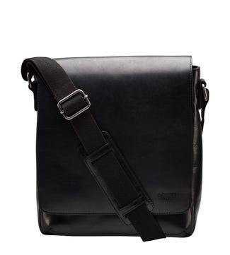 The Large Baker Leather Messenger in black | OSPREY LONDON