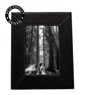 The Large Boxed Leather Photo Frame in black | OSPREY LONDON