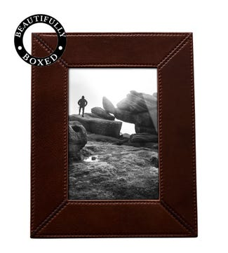 The Large Boxed Vice Leather Photo Frame in chocolate | OSPREY LONDON