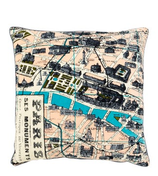 The Large Map Cushion Paris | OSPREY LONDON