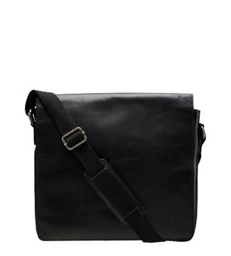 The Large Smithy Leather Messenger in black | OSPREY LONDON