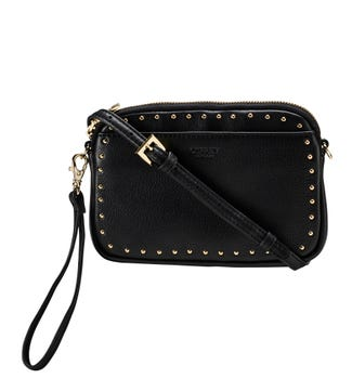 The Lennox Leather Convertible Cross-Body Clutch in black | OSPREY LONDON
