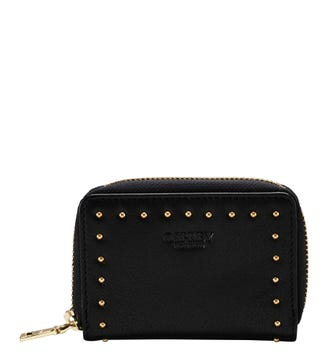 The Lennox Leather Zip-Round Purse in black | OSPREY LONDON