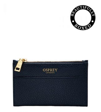 The Libby Leather Bi-Fold Purse in navy | Women | OSPREY LONDON