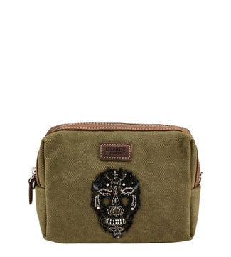 The Macbeth Canvas & Leather Washbag in khaki | OSPREY LONDON