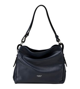 The Maria Italian Leather Cross-Body & Shoulder Bag in midnight blue | OSPREY LONDON