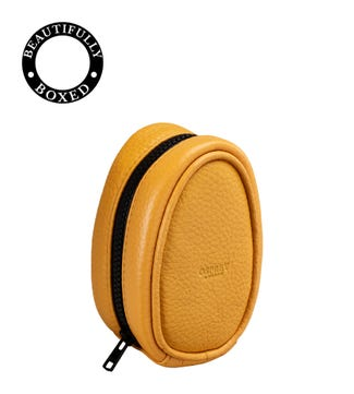 The Marine Leather Charger Pouch in mustard yellow & black | OSPREY LONDON