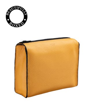 The Large Marine Leather Washbag in mustard yellow & black | OSPREY LONDON