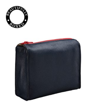 The Large Marine Leather Washbag in navy blue & red | OSPREY LONDON