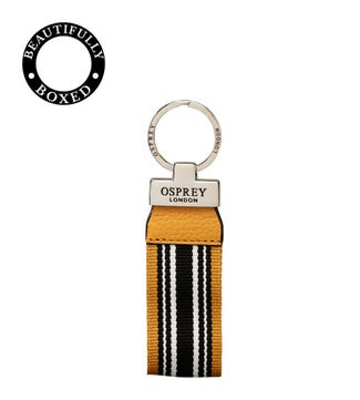 The Marine Leather Keyring in mustard yellow & black | OSPREY LONDON