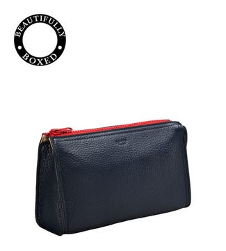 The Marine Leather Washbag in navy blue & red | OSPREY LONDON